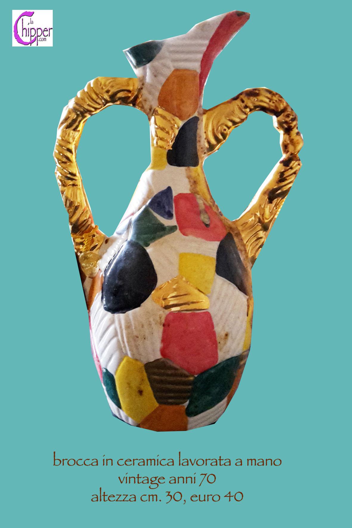 Brocca di ceramica multicolor anni 70