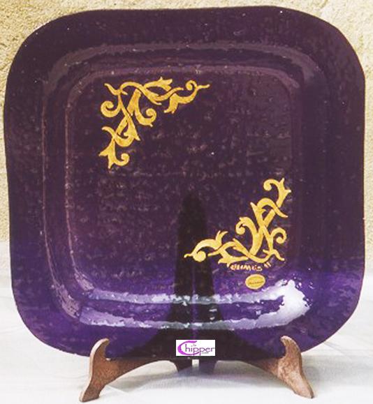 Piatto centrotavola Murano viola e oro