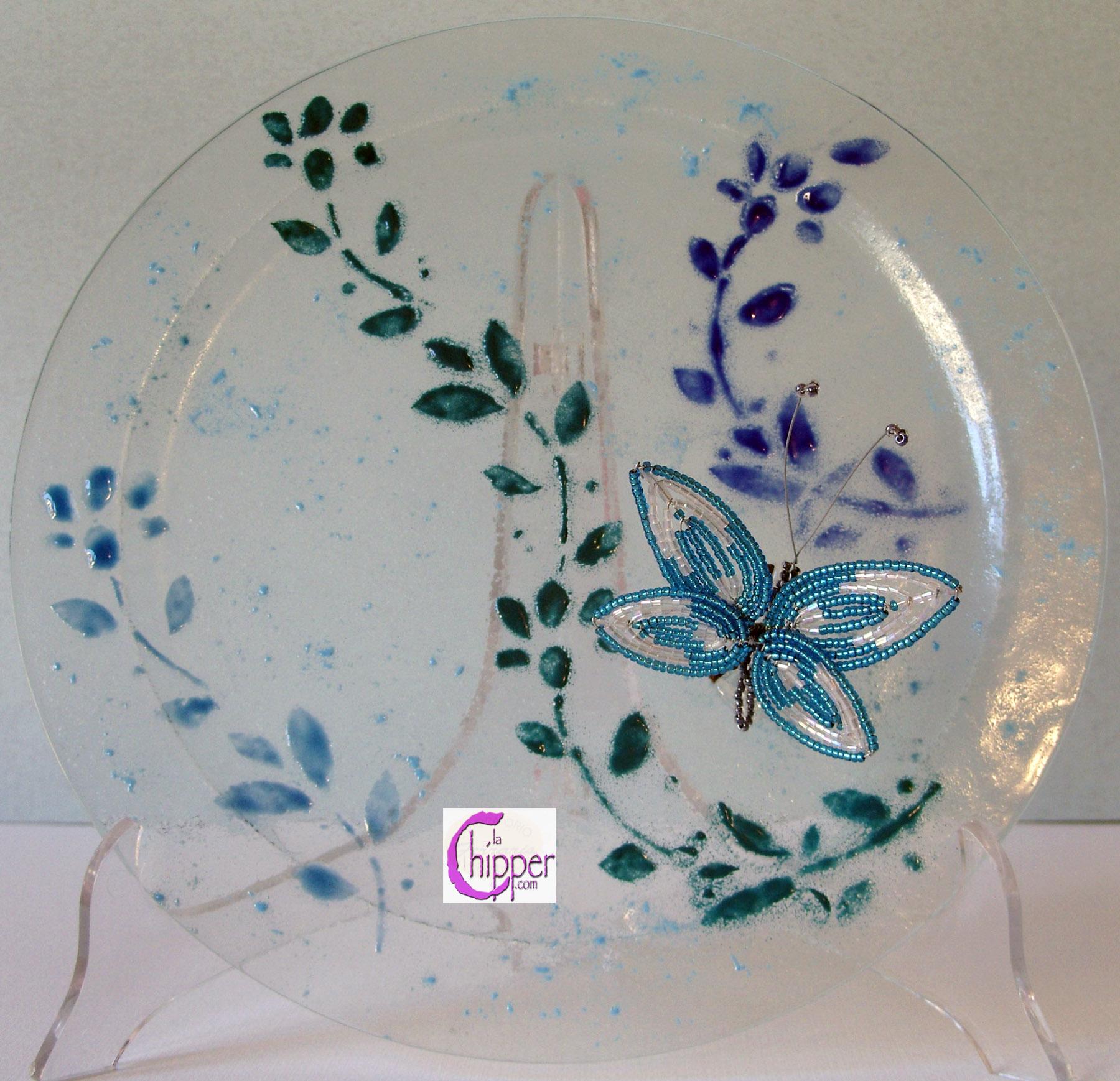 Piatto vetro Murano con applicazione