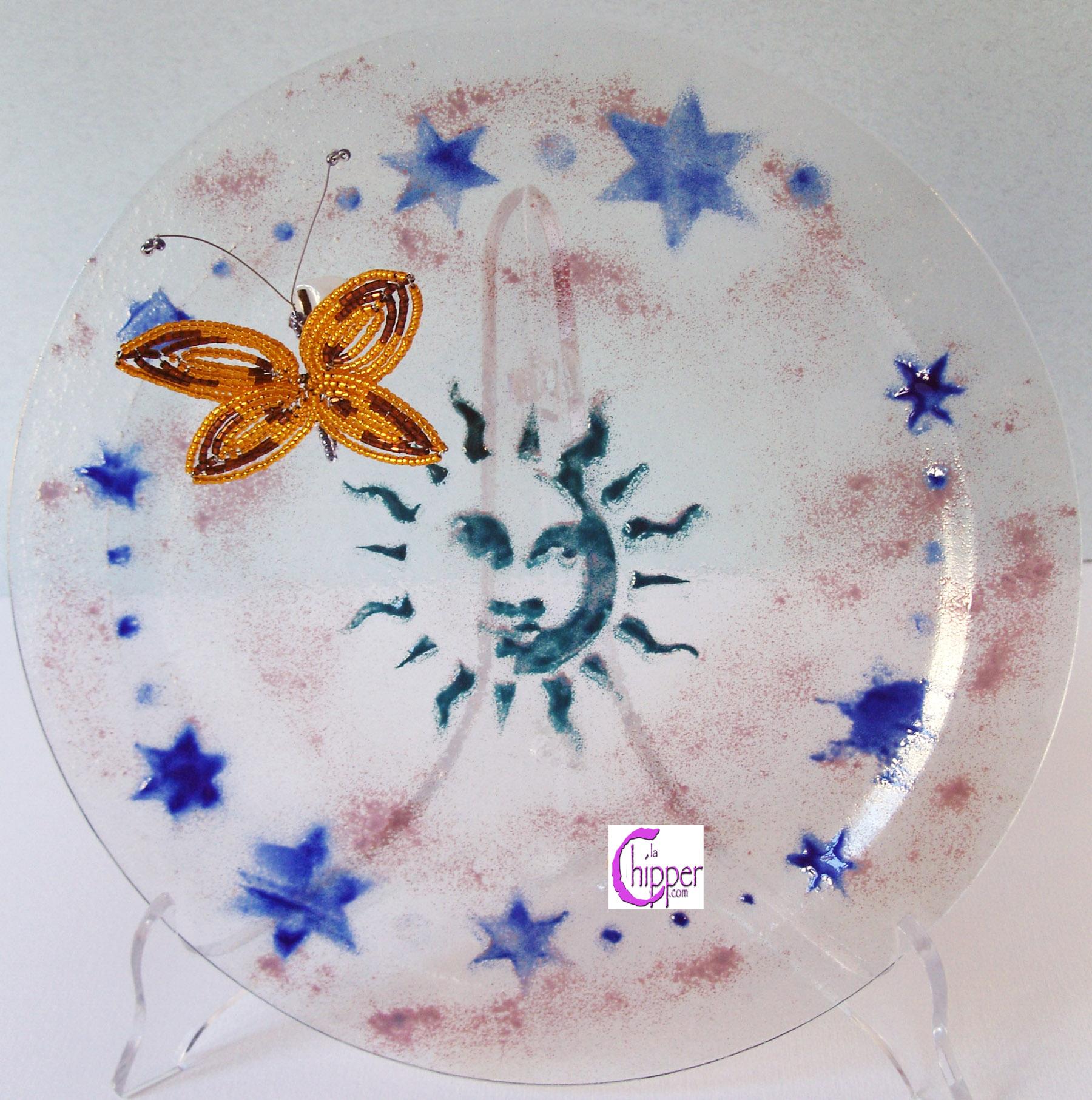 Piatto vetro Murano farfalla con perline