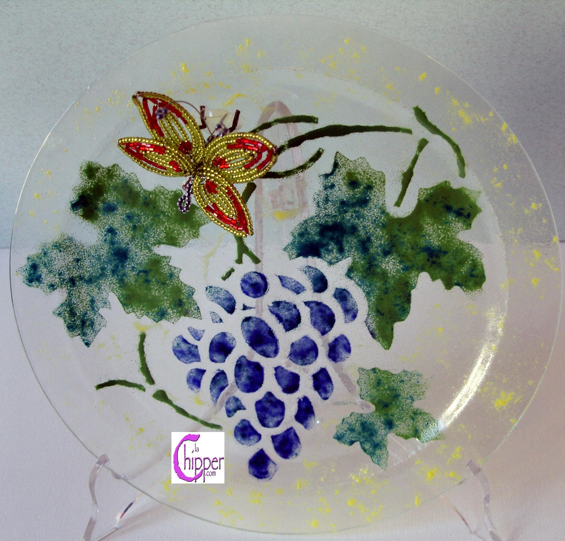 Piatto vetro Murano con perline