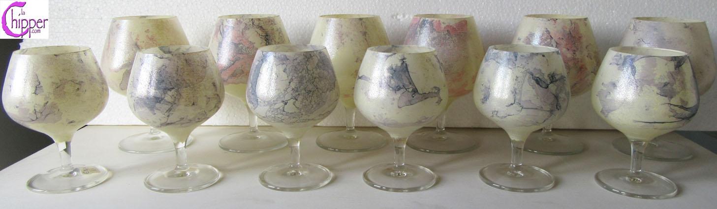 Bicchieri di vetro marmorizzato giallo