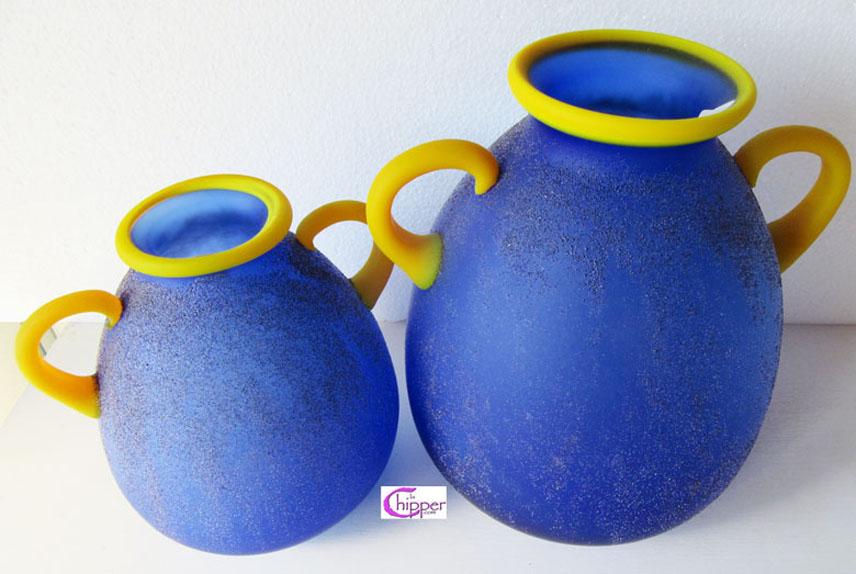 Coppia di vasi decorati blu Murano