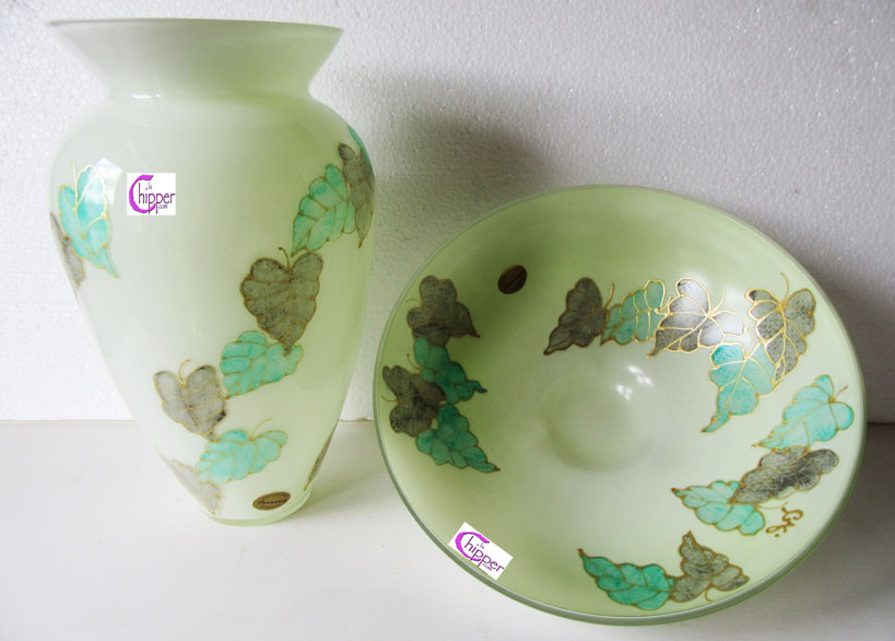 Vaso e centrotavola Murano decoro floreale verde