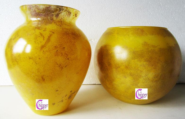Vasi cristallo marmorizzato giallo
