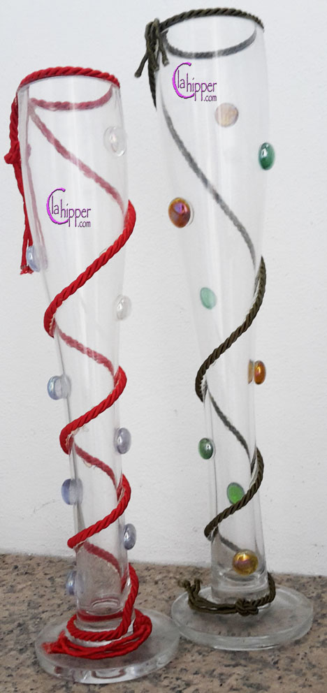 Vasi cristallo con gemme di vetro e cordone seta