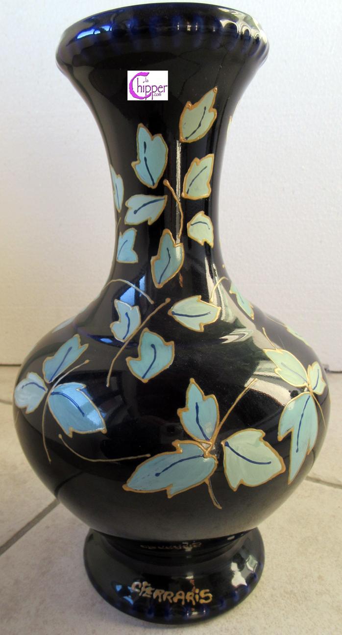 VASO anfora ceramica blu con smalti azzurri