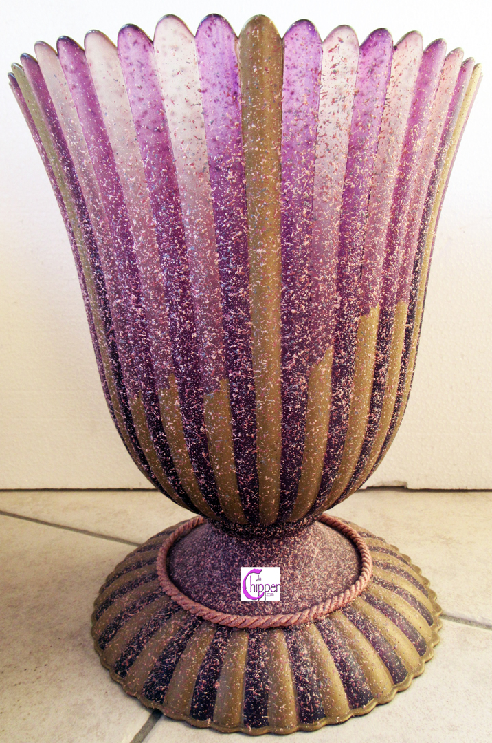 Vaso vetro di Murano rosa decoro smalti rilievo