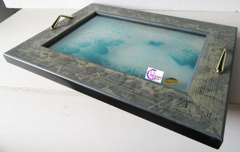 Vassoio graniglia vetro blu con cornice