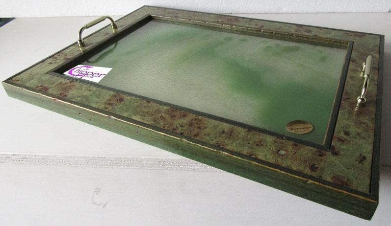 Vassoio cornice legno e graniglia vetro verde