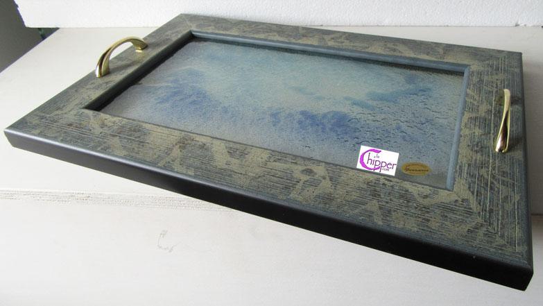 Vassoio vetro decorato graniglia con cornice legno