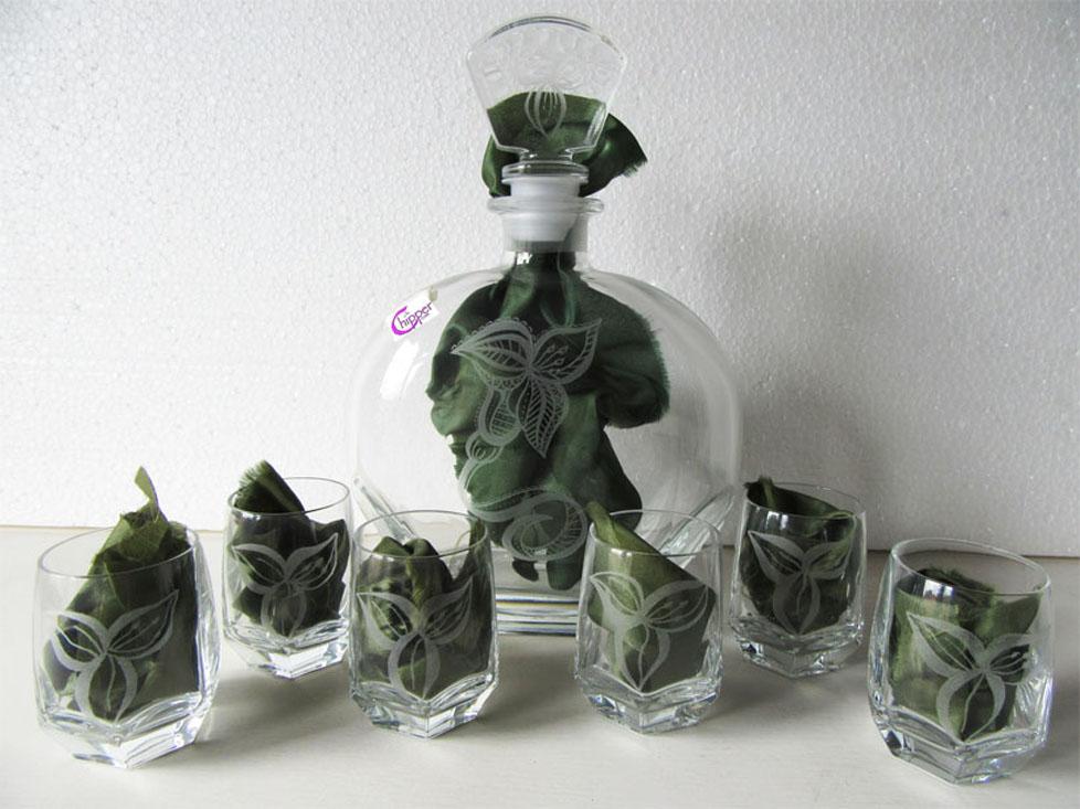 Set bicchieri e bottiglia vetro inciso