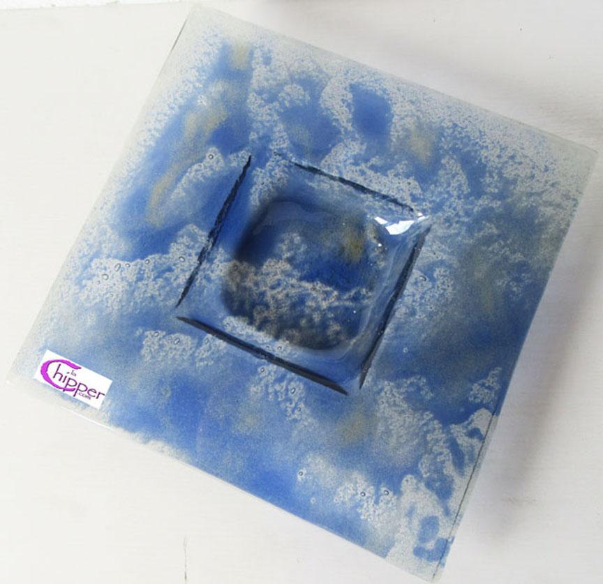 Ciotola quadrata blu cobalto Murano