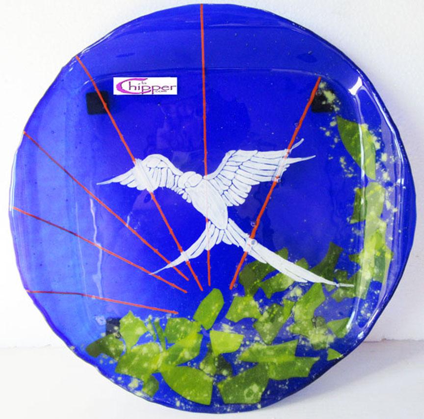 Vassoio dipinto Bullseye blu