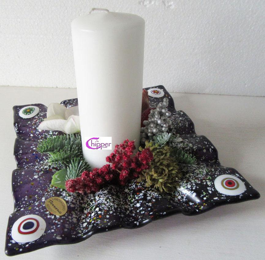 Ciotola centrotavola viola con murrine e candela